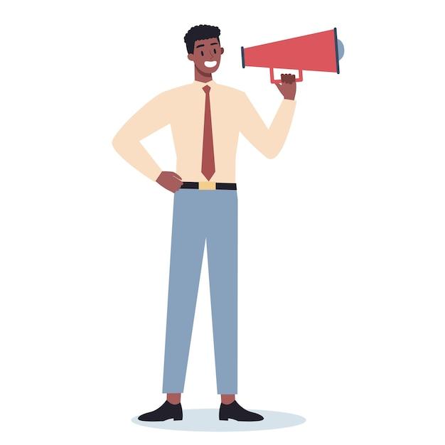 Zakelijke karakter permanent met megafoon. speciale promotie maken met luidspreker. spreker maakt aankondiging. de aandacht van de klant trekken. Premium Vector