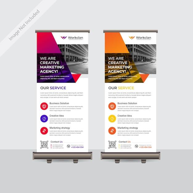 Zakelijke kleurrijke oprolbare of staande banner sjabloonontwerp Premium Vector
