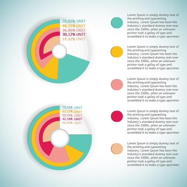 Zakelijke kleurrijke ronde diagram of infographic voorstellende percentage statistieken met platte tekstvelden Gratis Vector
