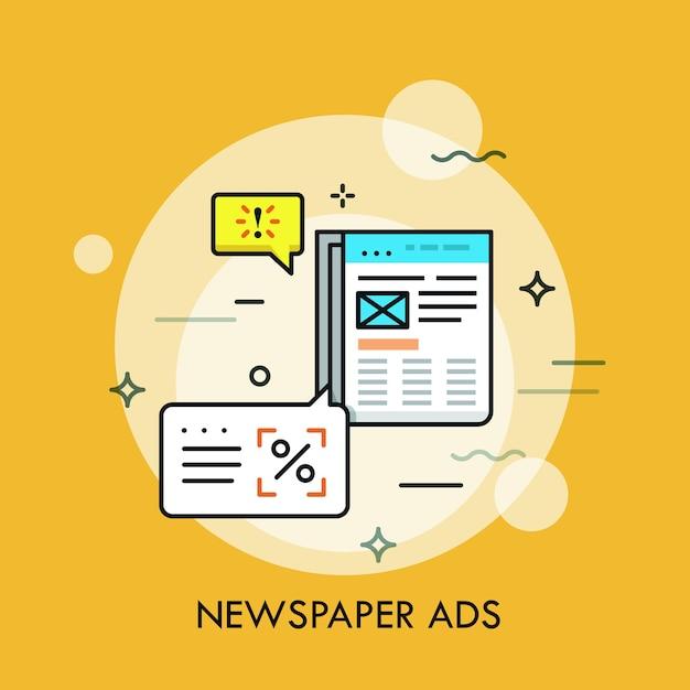 Zakelijke krant met advertenties en tekstballonnen. Premium Vector