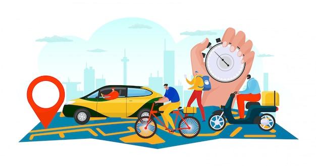 Zakelijke levering op kaart, online bestelling verzending door transport concept illustratie. commerce service app, man tracking box. van truck op achtergrond banner, mensen karakter logistisch. Premium Vector