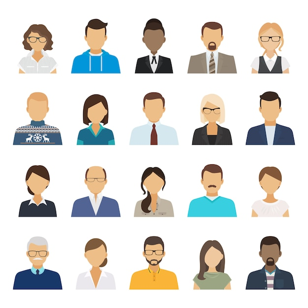 Zakelijke mensen platte avatars. Premium Vector