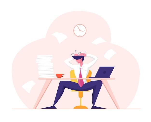 Zakelijke mislukking stress vermoeidheid en frustratie concept moe beklemtoonde werknemer Premium Vector