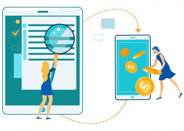 Zakelijke online technologie winst, digitaal geld Premium Vector