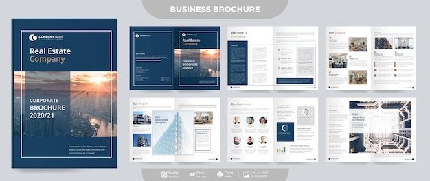 Zakelijke onroerend goed brochure en voorstel sjabloon Premium Vector