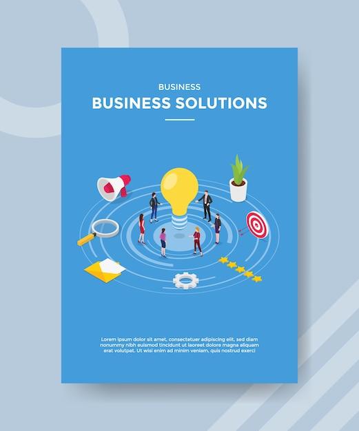 Zakelijke oplossingen mensen staan ?? rond gloeilamp voor sjabloon van banner en flyer Premium Vector