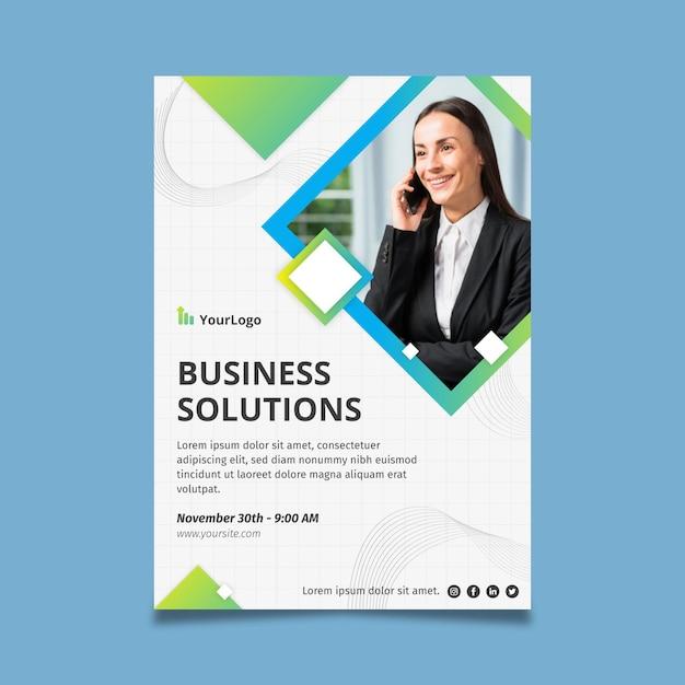 Zakelijke oplossingen poster zakelijke sjabloon Gratis Vector