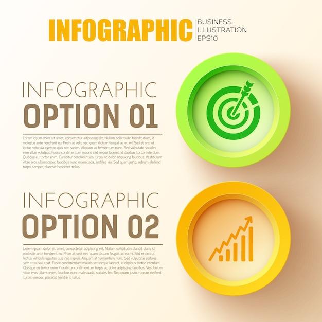 Zakelijke opties infographic concept met twee 3d-gekleurde cirkel knoppen Gratis Vector