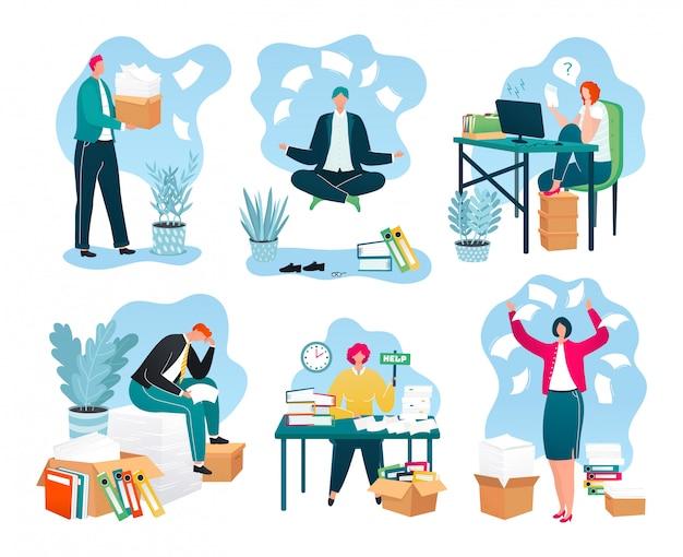 Zakelijke papieren op kantoor, stapels documenten, rapporten over de werkplek, papierwerk set van illustraties. zakenman met enorme stapel papierwerk. overbelaste werknemers en bureaucratie. Premium Vector