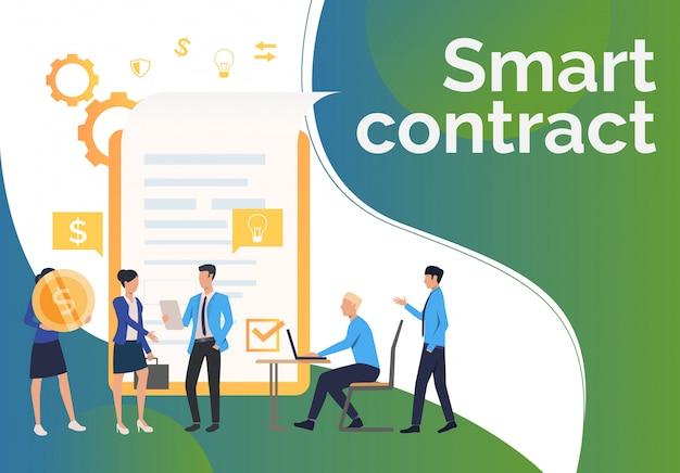 Zakelijke partners werken en contract sluiten Gratis Vector