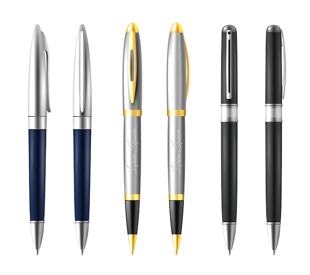 Zakelijke pennenset Gratis Vector