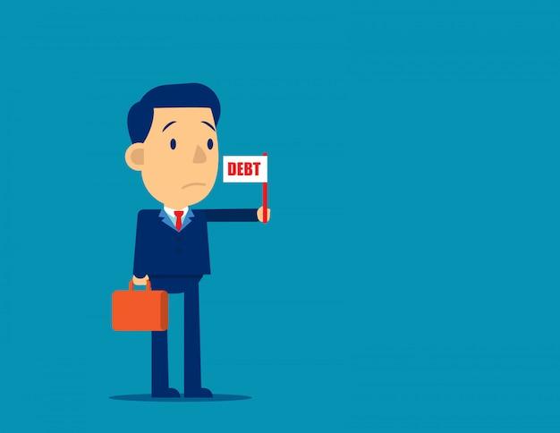 Zakelijke persoon met schuld vlag teken Premium Vector