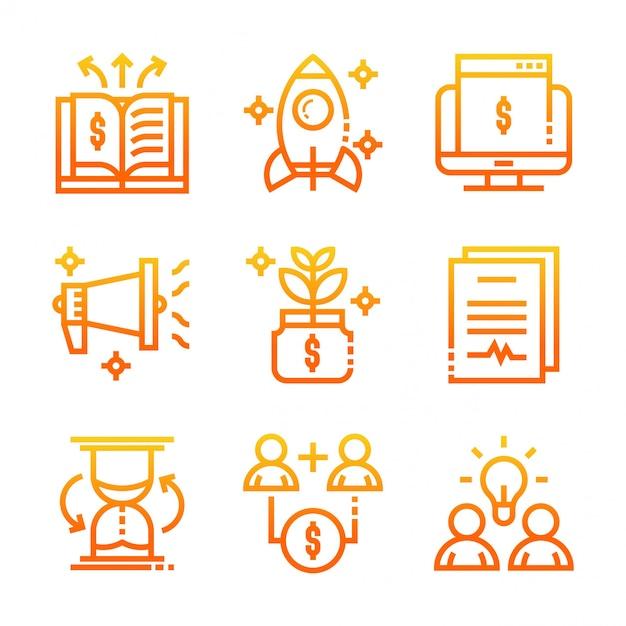 Zakelijke pictogrammen verloop Premium Vector