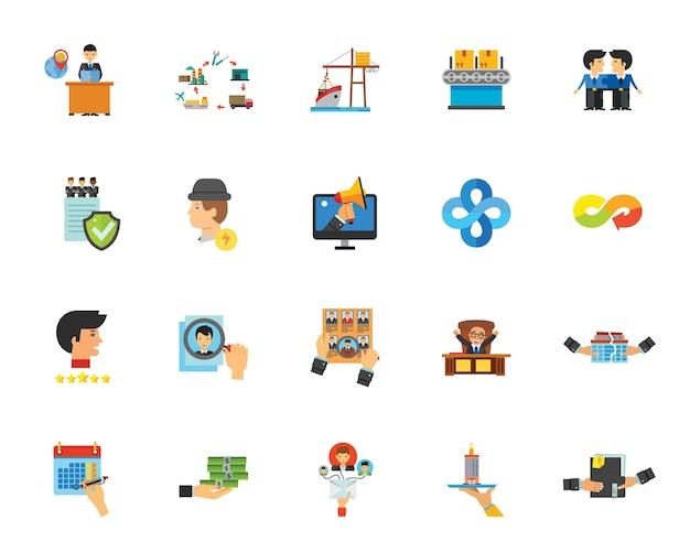 Zakelijke pictogramserie Gratis Vector
