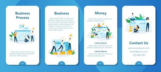 Zakelijke planning mobiele applicatie banner set. idee van analyse en beheer. financiële ontwikkeling. mensen die onderzoek doen. Premium Vector