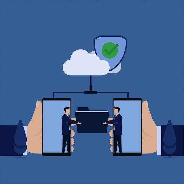 Zakelijke platte zakenman map uit telefoon uitwisselen via de cloud veilig beveiligde gegevensuitwisseling. Premium Vector