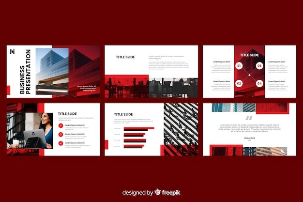 Zakelijke presentatie dia's met foto Gratis Vector