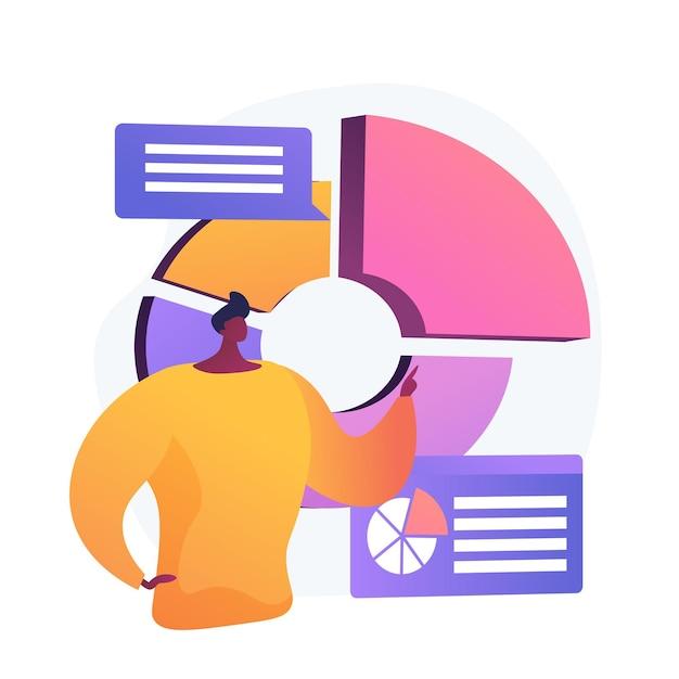 Zakelijke presentatie. gegevensanalyse, cirkeldiagram, infographicsvisualisatie. rapport analyseren. zakenman karakter analyseren van statistieken. Gratis Vector