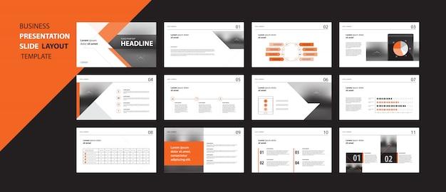 Zakelijke presentatie ontwerpsjabloon concept met infographic elementen Premium Vector