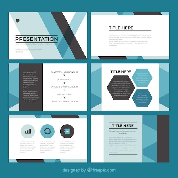 Zakelijke presentatiesjabloon in vlakke stijl Gratis Vector