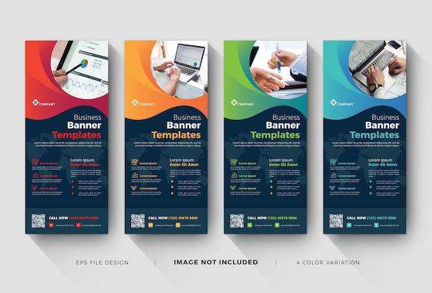 Zakelijke roll-up banner of x-banner sjablonen met kleurvariatie Premium Vector