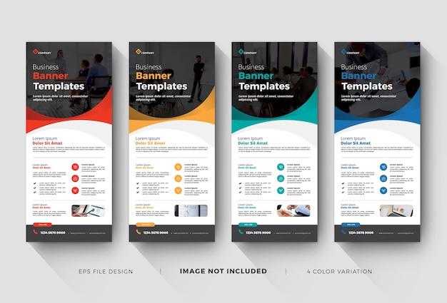 Zakelijke roll-up banner- of x-banner-sjablonen Premium Vector