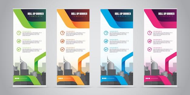 Zakelijke roll-up banner standee design Premium Vector