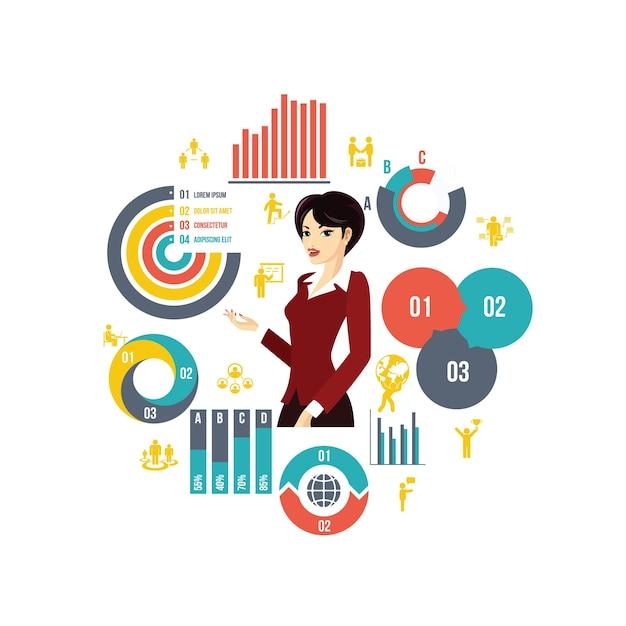 Zakelijke ronde compositie in vlakke stijl met mooie stijlvolle zakenvrouw diagrammen, grafieken, balken en zakelijke elementen Gratis Vector