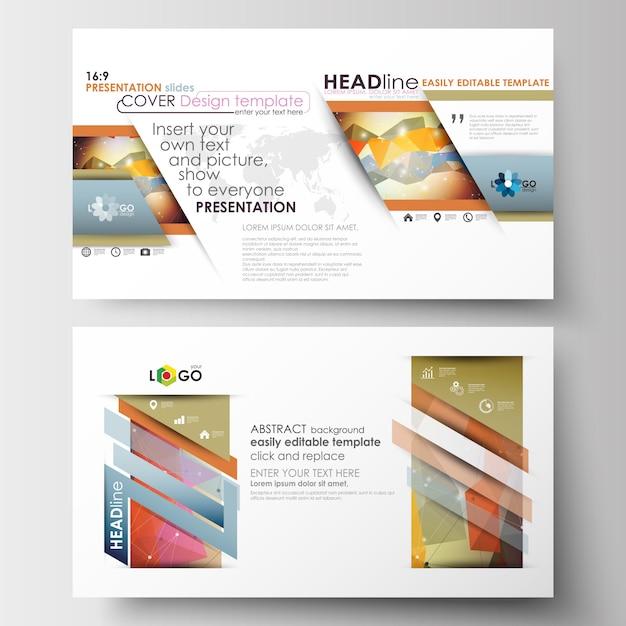 Zakelijke sjablonen in hd-formaat voor presentatiedia's. Premium Vector