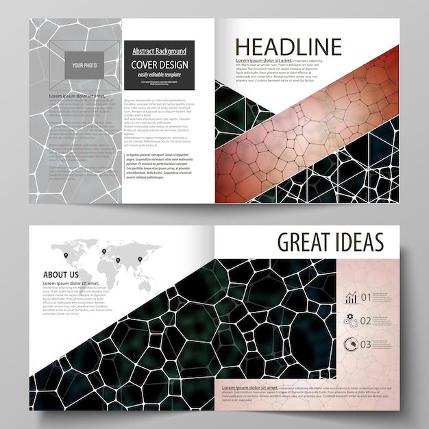 Zakelijke sjablonen voor brochure in bi-fold gevouwen vierkant Premium Vector
