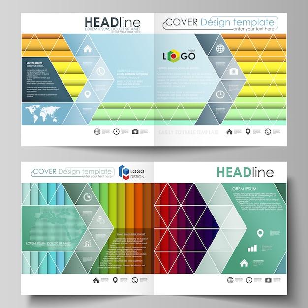 Zakelijke sjablonen voor brochure met vierkante bi-vouwen Premium Vector