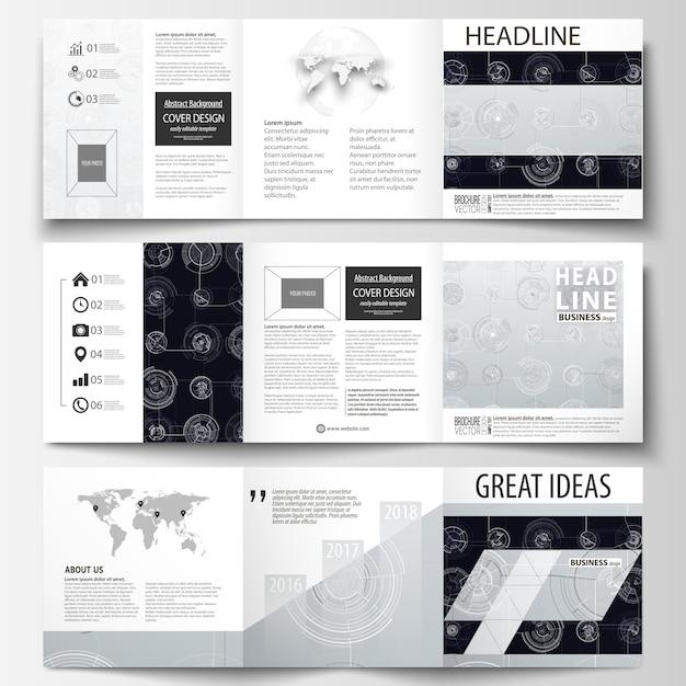 Zakelijke sjablonen voor brochures met vierkante drievoud Premium Vector