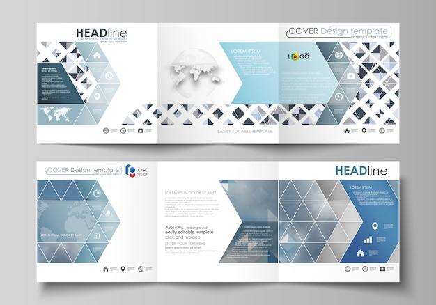Zakelijke sjablonen voor drievoudige vierkante brochures Premium Vector