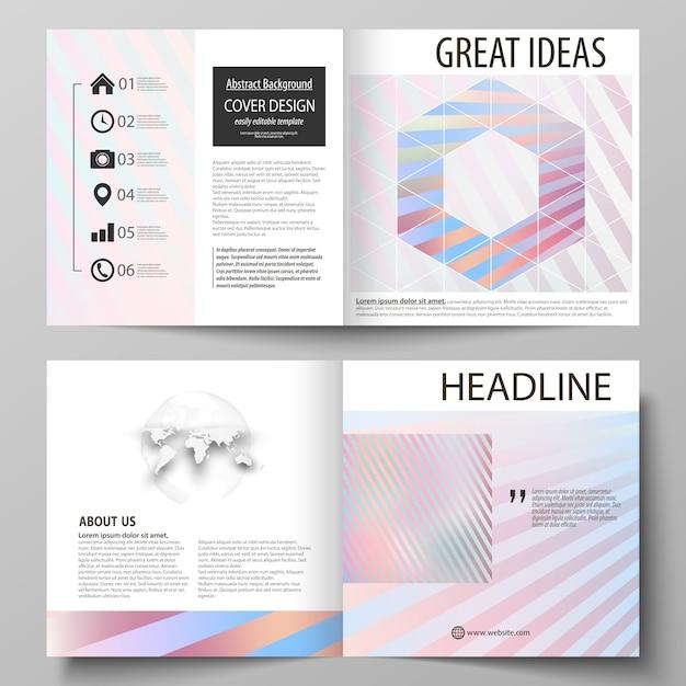 Zakelijke sjablonen voor vierkante bi-vouw brochure, tijdschrift, flyer Premium Vector