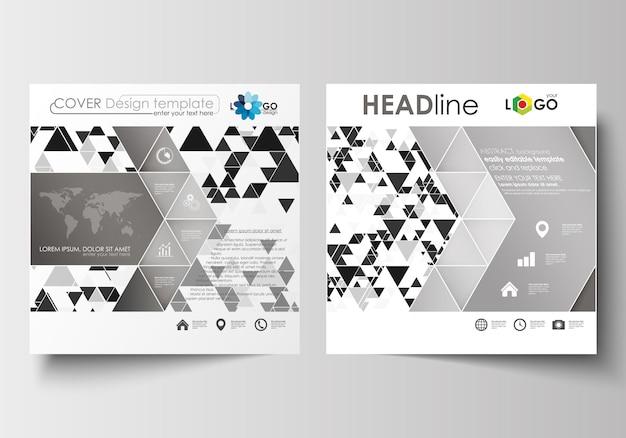 Zakelijke sjablonen voor vierkante brochure, flyer of rapport. abstracte backgrou van het driehoeksontwerp Premium Vector