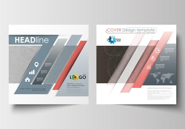 Zakelijke sjablonen voor vierkante ontwerp brochure, flyer. Premium Vector