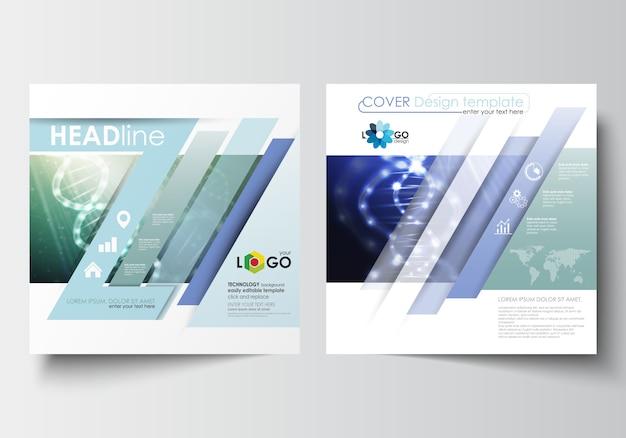 Zakelijke sjablonen voor vierkante ontwerp brochure, tijdschrift, flyer, boekje. dna-molecuul stru Premium Vector