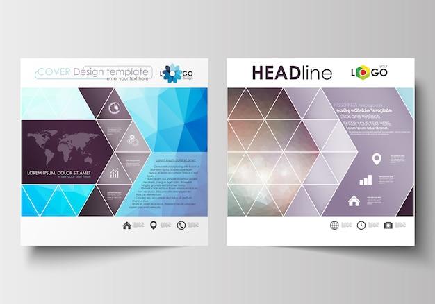 Zakelijke sjablonen voor vierkante ontwerp brochure Premium Vector