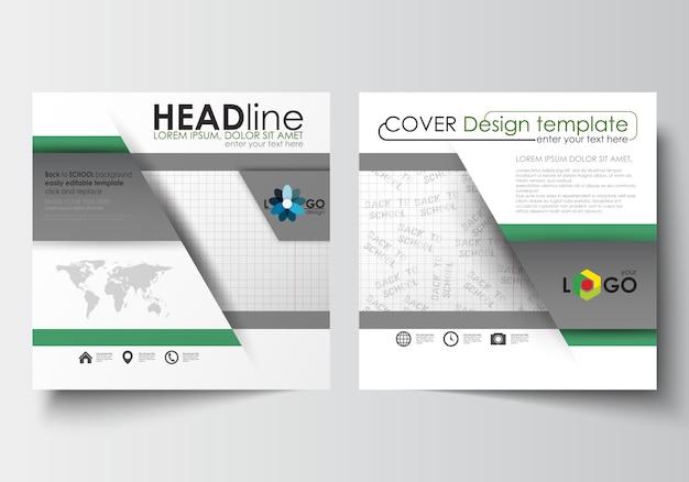 Zakelijke sjablonen voor vierkante ontwerpbrochure, tijdschrift, flyer, boekje of rapport Premium Vector