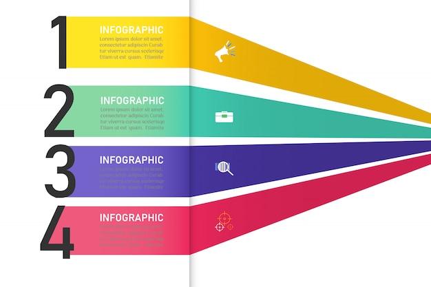 Zakelijke sjabloon 4 opties of stappen infographic grafiekelement. Premium Vector