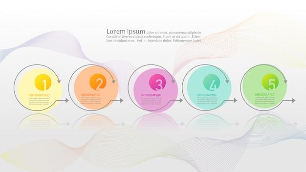 Zakelijke sjabloon 5 opties of stappen infographic grafiekelement. Premium Vector
