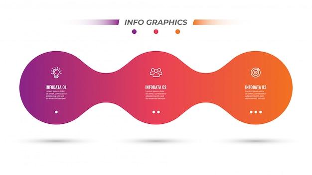 Zakelijke sjabloon. tijdlijn infographics met marketing pictogrammen en 3 stappen, opties Premium Vector