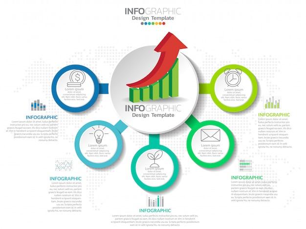 Zakelijke stap proces grafiek infographics met stap. Premium Vector