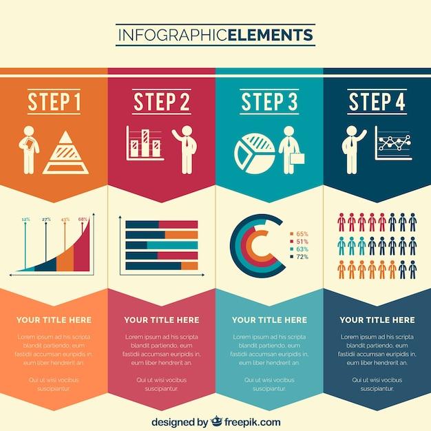 Zakelijke stappen infographic Gratis Vector