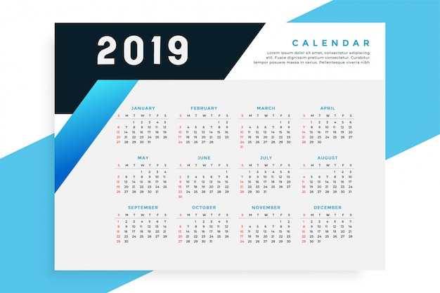 Zakelijke stijl 2019 kalendersjabloon Gratis Vector
