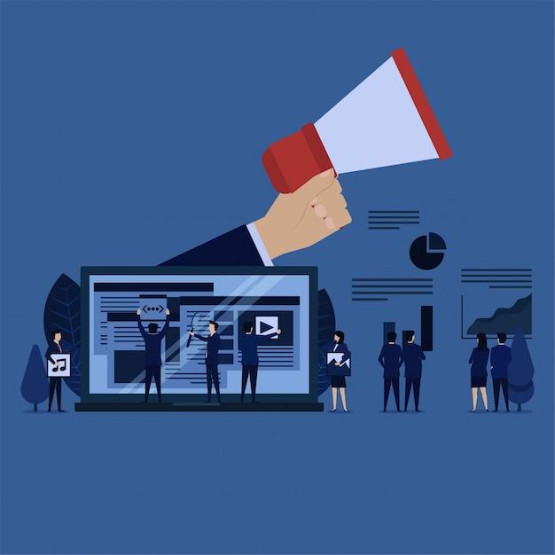 Zakelijke team management advertentie-inhoud en grafisch van de winst. Premium Vector