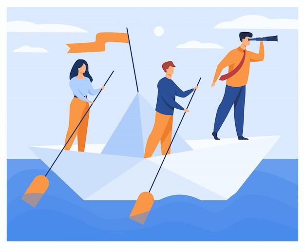 Zakelijke team roeien zakelijke boot Gratis Vector