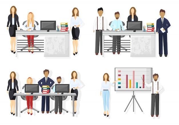 Zakelijke team vastgestelde illustratie Premium Vector