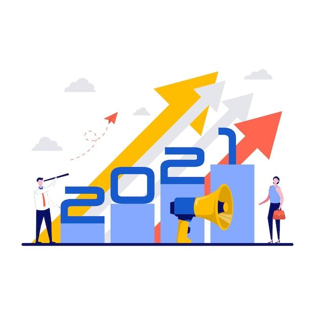 Zakelijke teamleider visie vooruit strategie voor het nieuwe jaar. Premium Vector