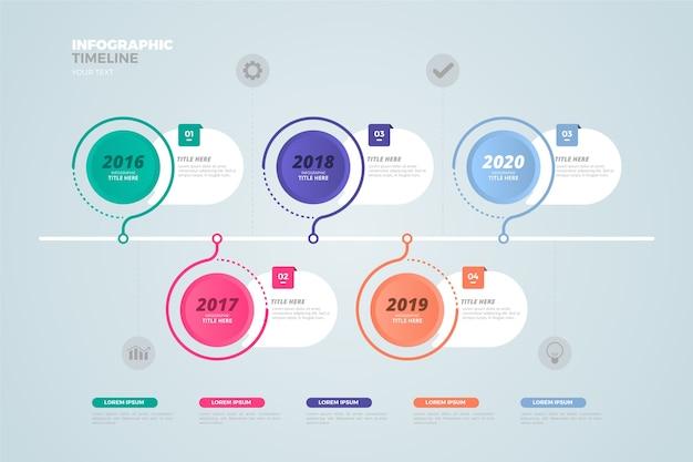 Zakelijke tijdlijn infographic plat ontwerp Gratis Vector